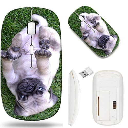 Wireless Mouse 2.4G White Base Travel Wireless Mice with USB Receiver, Noiseless and Silent Click with 1000 DPI for Notebook pc Laptop Computer MacBook Image of Dog Grass Animal Canine Domestic Pug b