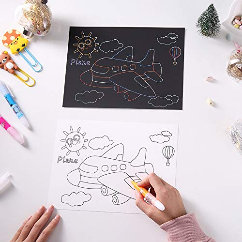 Scratch Off Black Paper with Stylus,Travel Activity or Kids Pobec Scratch Art Papers Both Sides Available Rainbow Sketch Pads Traffic Tools Series