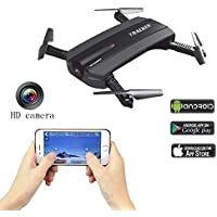 Fistone RC Drone WIFI FPV Quadcopter 2.4G 6-Axis Gyro Altitude Hold Aircraft Folding Airscrew Portable Helicopters Headless Nano Remote Control UFO Exploration HD Camera Electronic Hobby Toys(Black)