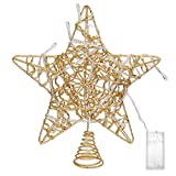 LimBridge Christmas Lighted Star Tree Topper, 10-Inch Gold Ribbon Treetop with Colorful 10 Lights