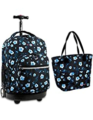 J World School Multi Purpose Rolling Backpack & Lunch Tote Bag Set Sunrise / Lola