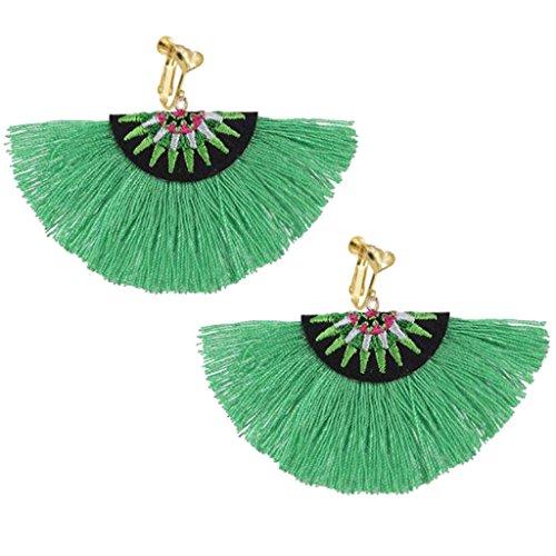 Bohemian Ethnic Clip on Earrings Heart Clips Green Silk Fringe Thread Fan Fancy Wedding Prom Earring ()