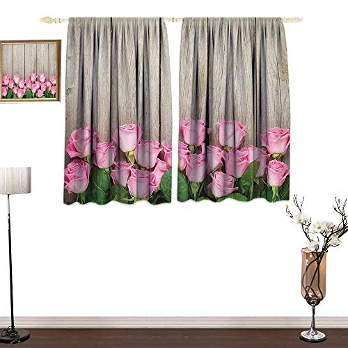 (Jinguizi Roses Decorations CollectionSimple curtainPink Roses Over Wooden Timber Table Valentines Day Top View PicturePrinting Insulation W72 xL72 Pink Green)
