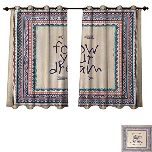 (Anzhouqux Tribal Blackout Thermal Curtain Panel Inspirational Quote Follow Your Dream and Arrows Aztec Framed Graphic Art Print Patterned Drape for Glass Door Tan Coral Blue W52 x L63 inch)