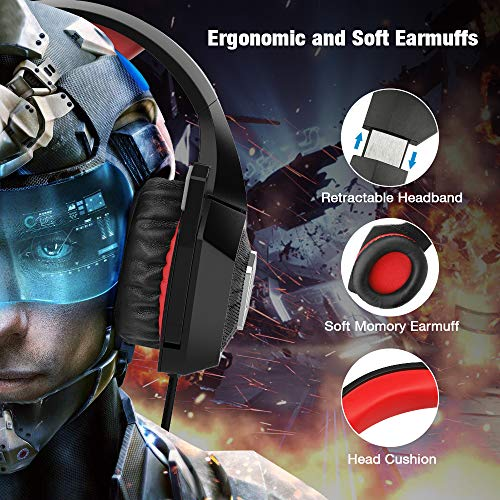 Gaming Headset for Xbox One, Y-Team Gaming Headphone with Noise Cancelling Microphone, Stereo Audio, Soft Earmuff, LED Light for Xbox One/PS4/PC/Mac/Laptop/Switch(Red)