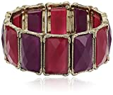 Best 1928 Jewelry Bracelets - 1928 Jewelry Gold-Tone Purple Faceted Rectangle Stretch Bracelet Review