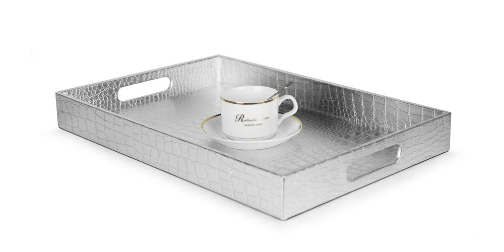 "Beautiful Modern Silver 18""x12"" Rectangle Glossy Alligator Croc Decorative Ottoman Coffee Table Perfume Living Dining Room Kitchen Serving Tray With Handles By Home Redefined For All Occassions"
