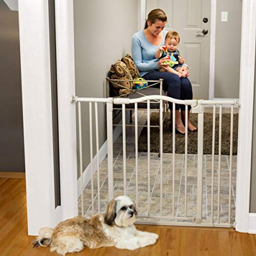 North States 38.25 Arched Auto-Close Baby Gate with Easy-Step Pressure or hardware mount mounts included . Two extensions included. Fits 28.5 -38.25 wide with included extensions 30 tall, Gray