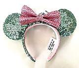 Disney Parks Mint Green Pink Bow Mickey Minnie Sequin Ears Headband