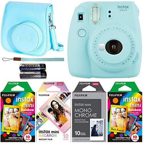 Fujifilm Instax Mini 9 Ice Blue Instant Camera with Four Fun Film Packs - 2 x Rainbow, 1 x Macaron and 1 x Monochrome - 40 Exposures with Accessories