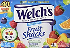 Welch's Fruit Snacks Mixed Fruit. Family farmer owned.80 Calorie pouches. Fruit is our 1st ingredient. Natural & artificial flavors. Made with real fruit. DV per serving: 100% Vitamin C. 25% Vitamins A & E. Fat free. Gluten free. No p...