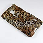 For LG Optimus F6 D500 Leopard Design Full Diamond Hard Protector Cover Case with Stylus Pen and ApexGears Phone Bag (Gold Leopard)