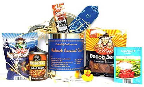 REDNECK SURVIVAL CAN WITH BLUE BANDANA PRESENTED TO YOU BY COOKIE GIFT CAN QUEEN by COOKIE GIFT CAN QUEEN