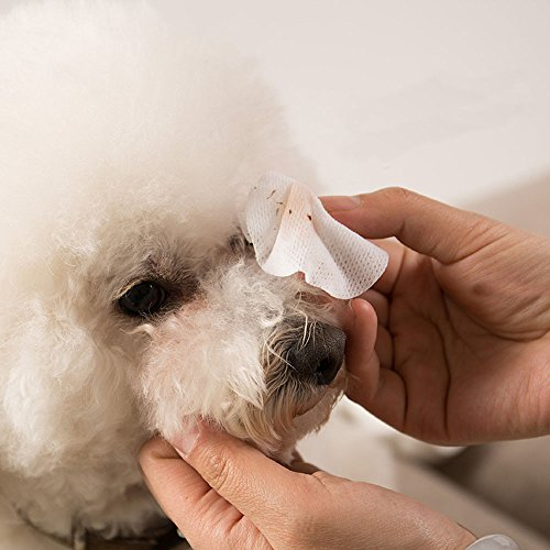 Eye Tear Stain Remover for Cats & Dogs -100 Pre Soaked Cotton Pads - Best Natural Eye Crust Treatment for White Fur - No Chemical and Bleach Free-Eye Clear Sterile Eye Wash