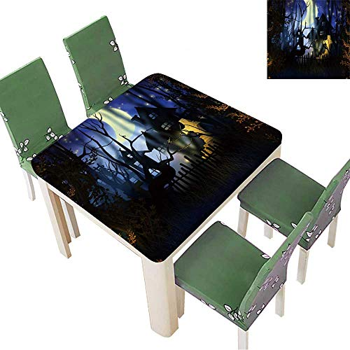 Printsonne Fitted Polyester Tablecloth  Premade Halloween Backdrop Washable for Tablecloth 23 x 23 Inch (Elastic Edge) -
