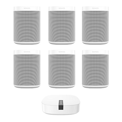Sonos ONE Multi-Room Digital Music System Package (White) with BOOST Enterprise-Grade Wireless Adapter (White) by Sonos