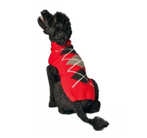 Red Argyle Dog Sweater - Chilly Dog Red Classic Argyle Dog Sweater, Small