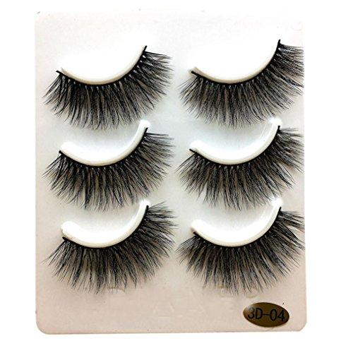 Demi Mink - NewKelly 3 Pairs Long False Eyelashes Makeup Natural Fake Thick Black Eye Lashes
