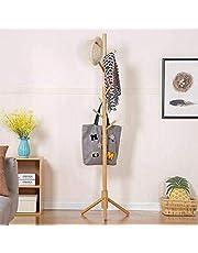 Cloudsky Wooden Coat Rack with 8 Hocks, 3 Adjustable Sizes Free Standing Coat Hanger No Tools Required Handbags, Clothes, Hat Stand for Hallway, Entryway, Bedroom