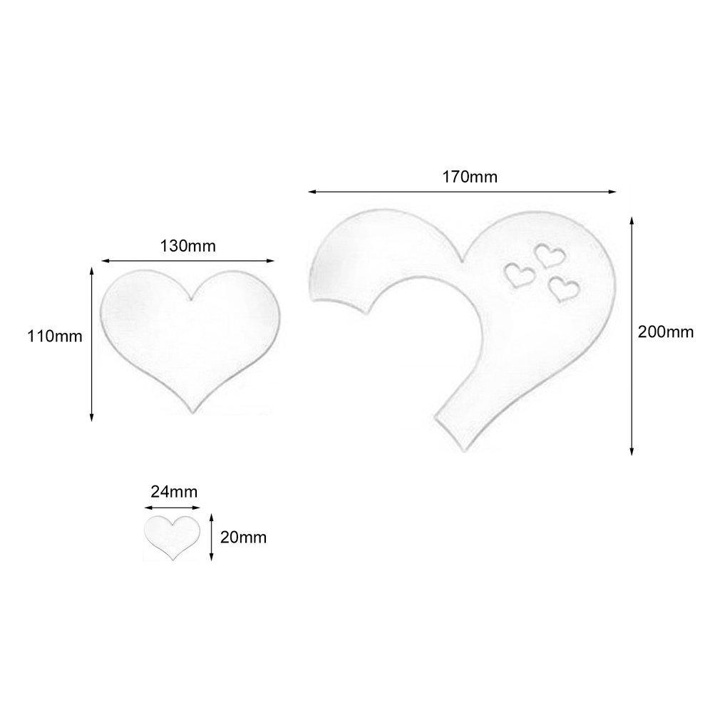 DDGE DMMS para Decorar el hogar o la Cocina Adhesivo Decorativo para Pared dise/ño de Corazones con Efecto Espejo 3D