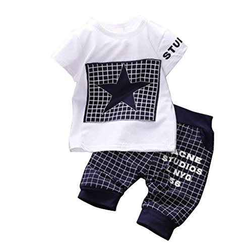 Shirt Pants Bib (Canis Baby Boy Kid 2 Piece Star Sportswear Clothes T-Shirt Top Short Pants Outfit Set (XL/3Y,Navy))