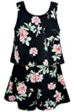 Truly Me, Charming Rompers (with Many Options), 4-6X, 7-16 (14, Black Floral)