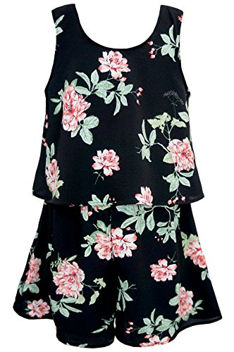 Truly Me, Charming Rompers (with Many Options), 4-6X, 7-16 (14, Black Floral) by Truly Me