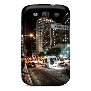 RichJWen Scratch-free Phone Case For Galaxy S3- Retail Packaging - Street In Motion In The Night