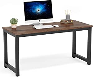 Tribesigns Computer Desk, 55 inch Large Office Desk Computer Table Study Writing Desk Workstation for Home Office, Rustic Brown