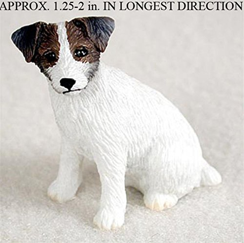 Ky & Co YesKela Jack Russell Terrier Mini Resin Hand Painted Dog Figurine Statue Brwn/Wht Rough