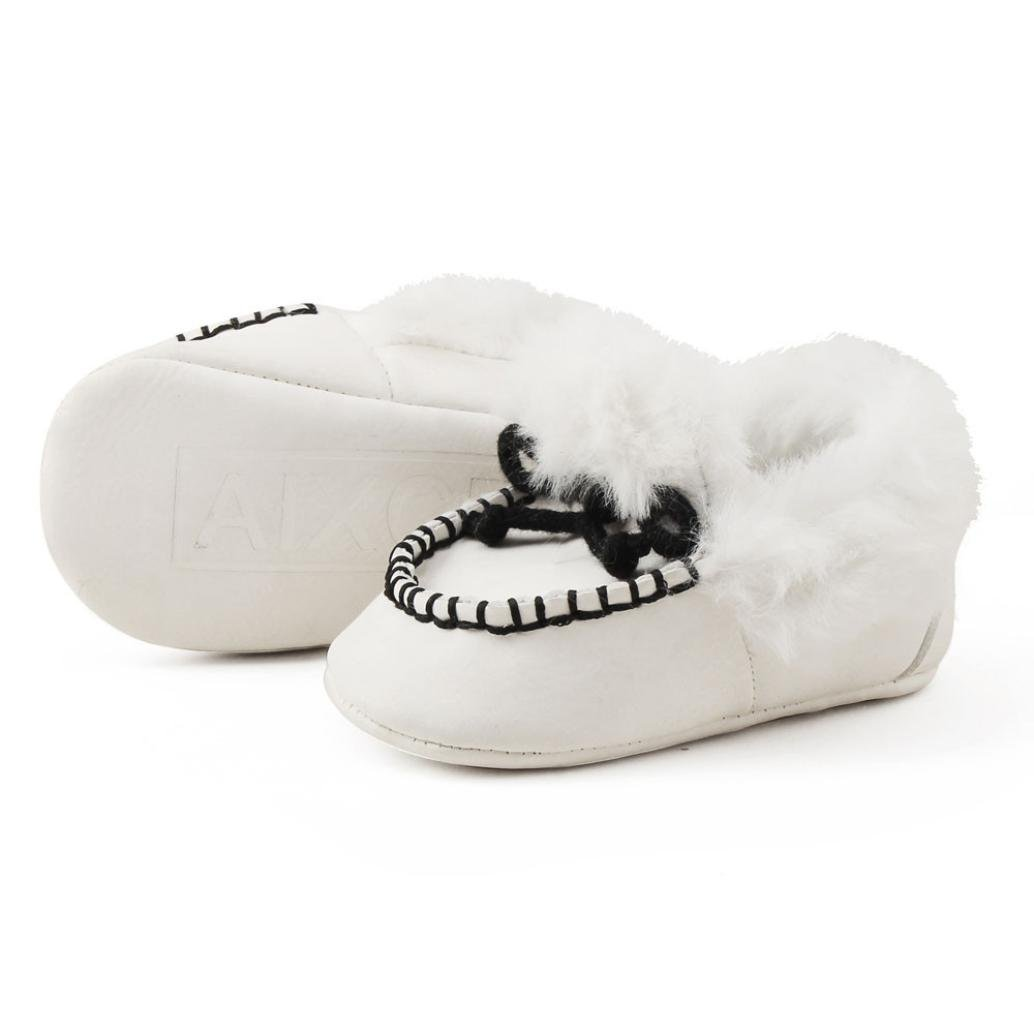 Amiley Newborn Baby Boys Girls Bow Fur Soft Sole Crib Shoes Slip-on Moccasins Slippers Infant Toddler Pre-Walker