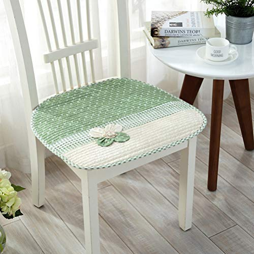 YJBear Thin Square Chair Pad for Office Home Non Slip Applique Flower Decorated Chair Cushion Underpad with Bandage Green 17.7