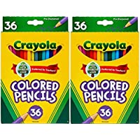 Colored Pencil Set, School Supplies, Assorted Colors, 1 Set - 2 Box (36 Count of 1 Box), Long