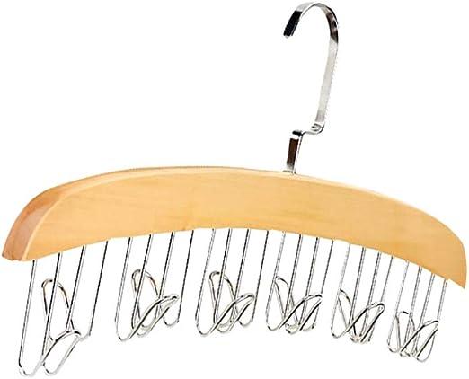 12 Belt Wood Racks with Stainless Steel Hooks Natural Wood Multi Hook Tie Rack Closet Accessories Wardrobe Scarves Ties Organizer Hanger