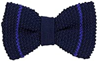 Dark Blue/Royal Blue Micro Bar Striped Pre-Tied Silk Bow Tie by 40 Colori