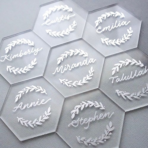 UNIQOOO 20 Count Clear Acrylic Escort Place Cards - Extra Thick Hexagon Shape - Perfect for Wedding, Birthday Parties, Table Numbers, Guest Name, Food Signs, Banquet Events, 3 1/8 x 2 3/4 inch