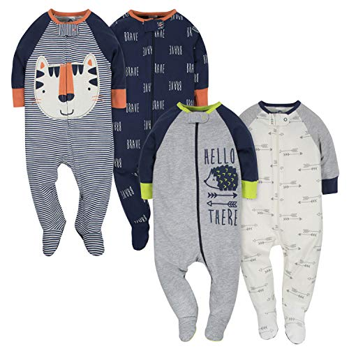 GERBER Baby Boys' 4-Pack Sleep 'N Play, Tiger/Hedgehog, 3-6 Months