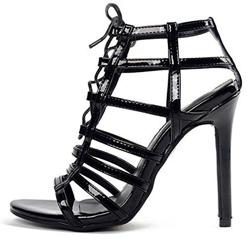 Azbro Mujer Sandalias Estilete Gladiator con Cordón-arriba con Puntera Abierta Negro