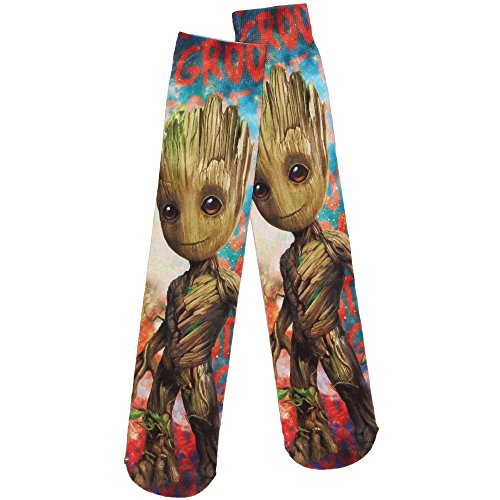 Guardians of the Galaxy Vol. 2 Baby Groot Sublimated Adult Crew Socks, Multi (Blue/Red), Shoe: 6-12 from Hypnotic Hats