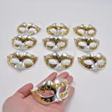 Yiseng Mini Masquerade Masks Party Decoration 10pcs Set Supper Small Gold Plaing Mardi Gras Halloween Decor Novelty Gifts (Silver)