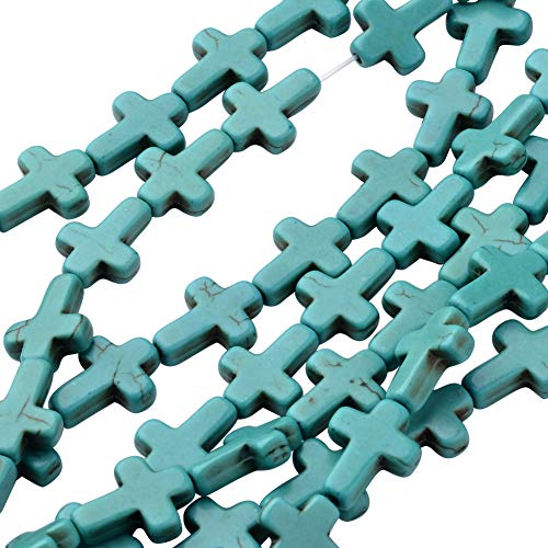 ARRICRAFT 20 Strands 12x16mm Synthetic Turquoise Beads Strand Dyed Cross Beads for Jewelry Design, About 25pcs/Strand - Cross Turq