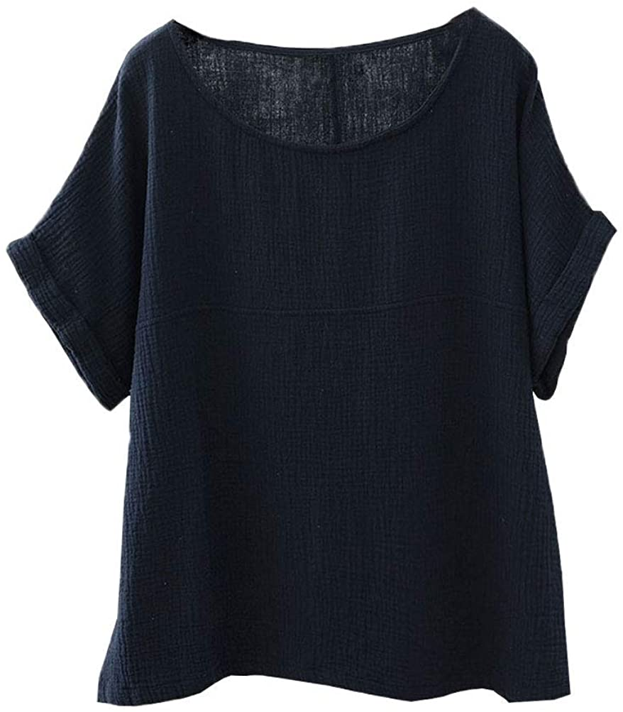 Soojun Womens Cotton Linen Round Collar Boxy Top Patchwork Blouses