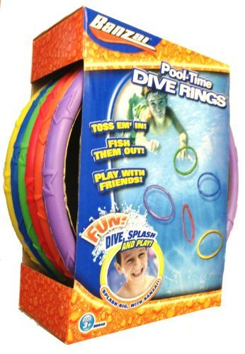 (Banzai Spring & Summer Toys Pool Time Dive Rings 6-Pack)