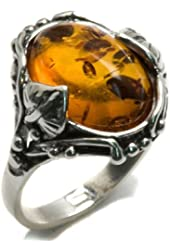 Honey Amber and Sterling Silver Leaves Oval Ring Sizes 5,6,7,8,9,10,11,12
