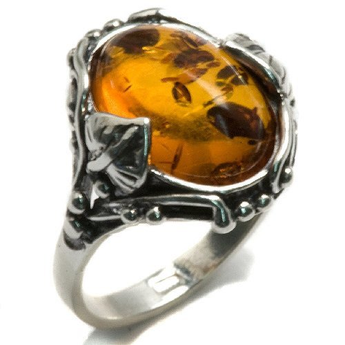 Oval Leaf Ring (Honey Amber and Sterling Silver leaves Oval Ring Sizes 5,6,7,8,9,10,11,12)