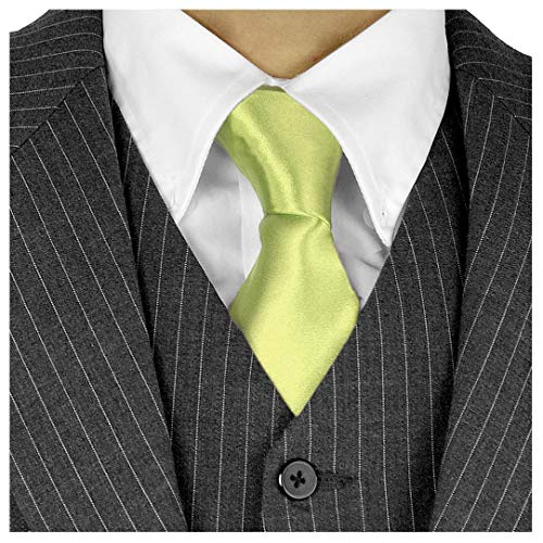 Long Ties For Men 3-in Satin Silk Finish Neck Ties Solid Color - Lime Green