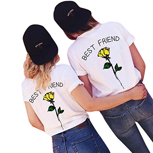 (Clearance HGWXX7 Women Short Sleeve Best Friend Letters Rose Printed T Shirts Causal Blouses Tops)