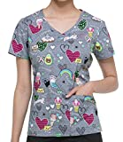 Dickies EDS Signature Women's V-Neck Cat Print Scrub Top X-Large Print