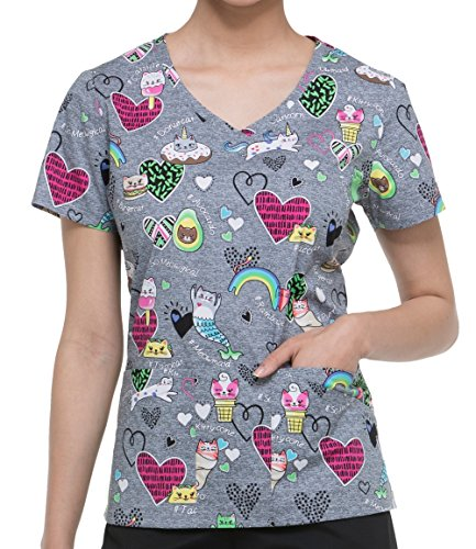 Dickies EDS Signature Women's V-Neck Cat Print Scrub Top Small Print by Dickies