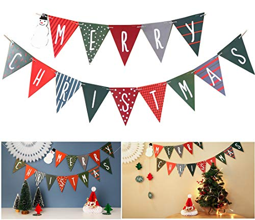 Merry Christmas Banner - Christmas Decoration Bunting Pennant Banner for Christmas Party, New Years, Holiday Decoration, Winter Season Greeting, Home Mantel Fireplace Garland Decor Photo Props